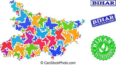 Save Nature Collage of Map of Bihar State with Butterflies and Scratched Stamps