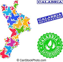 Save Nature Collage of Map of Calabria Region with...