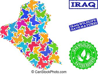 Save Nature Composition of Map of Iraq with Butterflies and Distress Watermarks