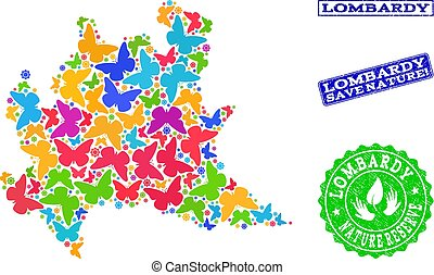 Save Nature Composition of Map of Lombardy Region with...
