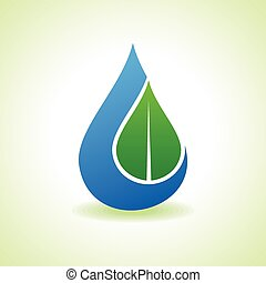 Leaf inside the waterdrop - Save Nature Concept - Leaf...