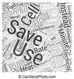 Save on Communication and Electricity Word Cloud Concept