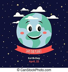 Save our planet banner template for the Earth day flat cartoon vector illustration.
