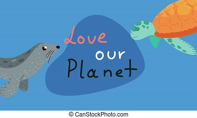 save our planet lettering with turtle ,4k video animated