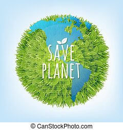 Save Planet With Gradient Mesh, Vector Illustration