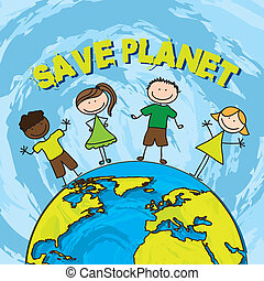 save planet with children over blue background. vector ...