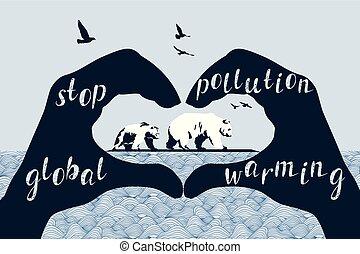 Save Polar Bears concept, global warming