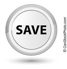 Save prime white round button
