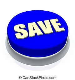 Save round button 3d. Isolated on white.