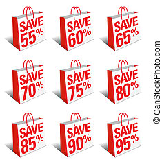 Nine Concept icons from 55% to 95% - SET TWO - Save Shopping Bag Icon with Percentage Discount, Reduced Price Symbol