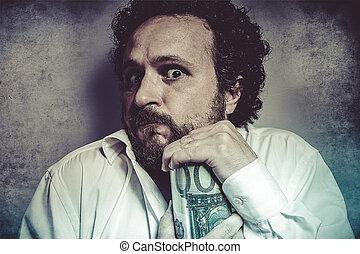 Save, stingy businessman, saving money, man in white shirt...