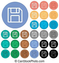 Save symbol round flat multi colored icons
