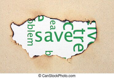 Save text on paper hole