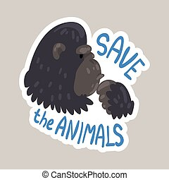 Save the animals tagline sticker cartoon vector illustration