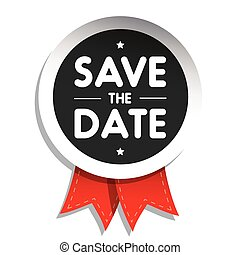 Save The Date badge with red ribbon