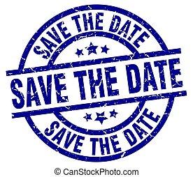 save the date blue round grunge stamp