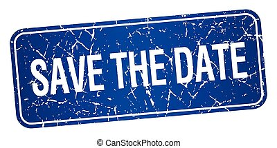 save the date blue square grunge textured isolated stamp