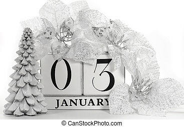 Save the Date calendar with white winter theme colors, snow covered pine tree, and poinsettia flowers, for birthdays, special occasions, holidays, weddings, or website events, for January 3.