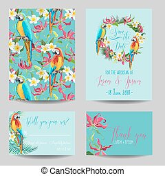 Save the Date Card - Tropical Flowers and Birds - for Wedding, Invitation, Party - in vector