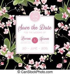 Save the Date Card. Tropical Orchid Flowers and Leaves Wedding Invitation. Vector