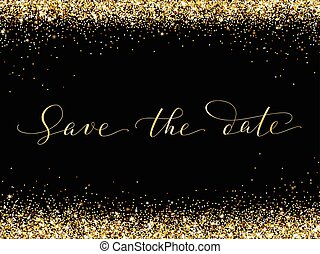 Save the date card with falling glitter confetti frame. ...
