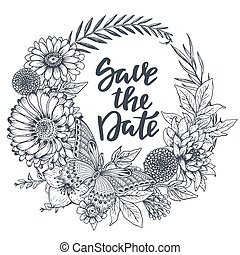 Save the date card with hand drawn flowers, leaves and butterfly