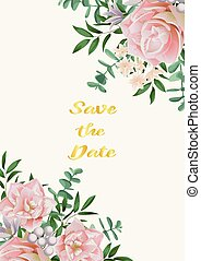 Save the Date Card with Pink Flowers and Greenery - Save the...
