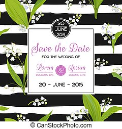 Save the Date Card with Spring Lily of the Valley Flowers. Wedding Invitation, Anniversary Party, RSVP Floral Template. Vector illustration