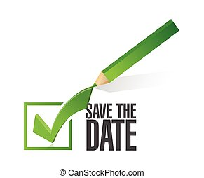 save the date check mark pencil