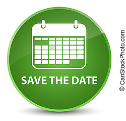 Save the date elegant soft green round button