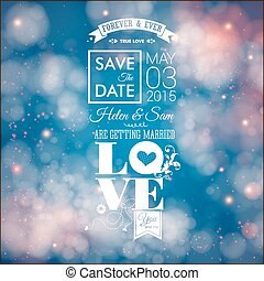 Save the date for personal holiday. Wedding invitation. Vector i