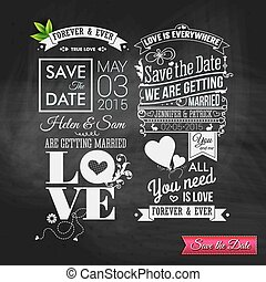 Save the date for personal holiday. Vintage typography wedding s