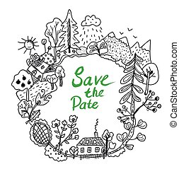 Save the date frame with doodle nature elements