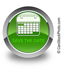 Save the date glossy soft green round button