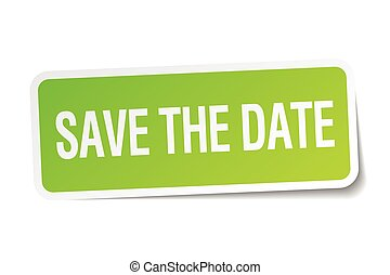 save the date green square sticker on white background