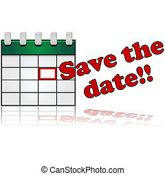Save the date - Icon showing a calendar with a date marked...