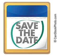 save the date illustration design over white
