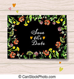 Save the date love card with watercolor floral bouquet. ...