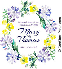 Save the date love card with watercolor floral bouquet.
