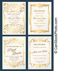 Save the date luxury vector wedding invitation cards with gold elegant border frame
