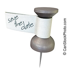 Save The Date Mteal Thumbtack - A metal thumbtack with a...