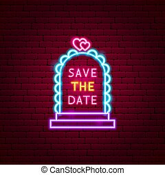 Save the Date Neon Label