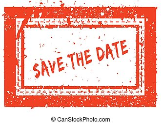 SAVE THE DATE on orange square frame rubber stamp with grunge texture