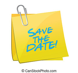 save the date post it illustration design over a white ...