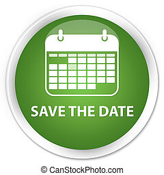 Save the date premium soft green round button