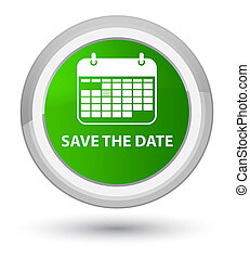 Save the date prime green round button
