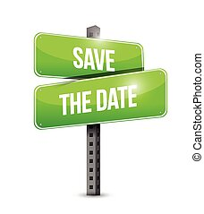 save the date road sign illustration design over a white ...