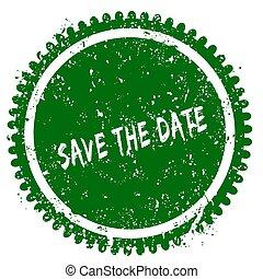 SAVE THE DATE round grunge green stamp
