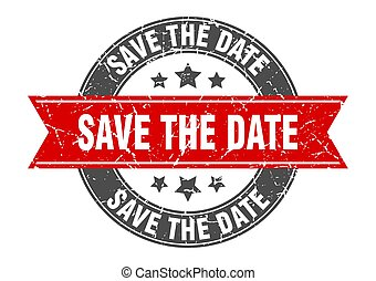 save the date round stamp with red ribbon. save the date