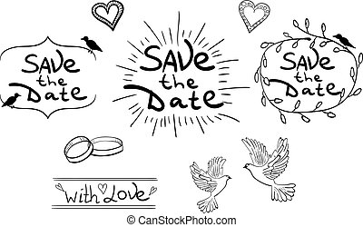 Save the Date. Set of hand drawn design elements. Vintage VECTOR. Black on white.